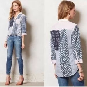 HD In Paris Anthropologie Patchwork Shirt sz12 NWT